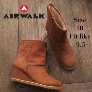 Airwalk Wedge Brown Faux Suede Fleece Ankle Boots